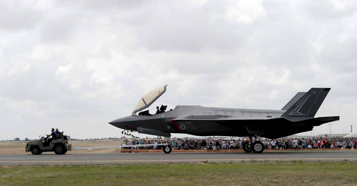 A Royal Australian Air Force F-35A Lightning II multirole fighter is towed during the Australian International Airshow in Melbourne on March 5, 2017.