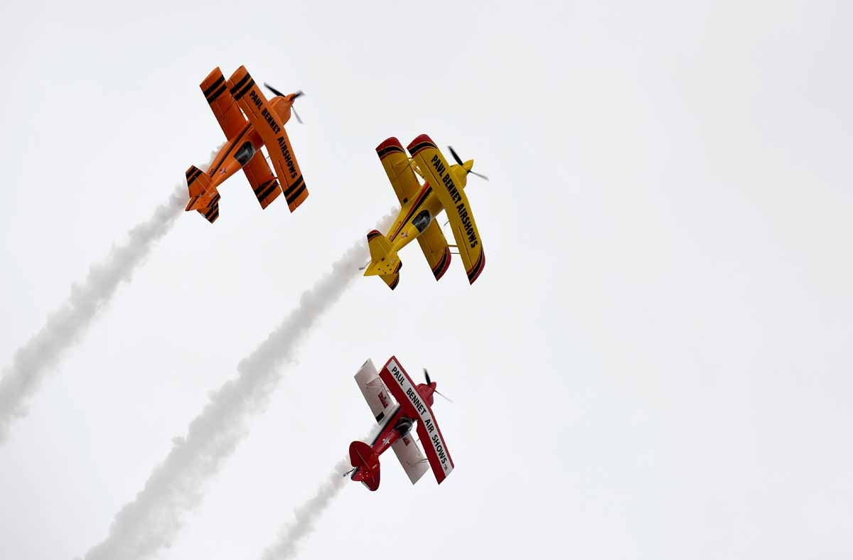 The Sky Aces perform during the Australian International Airshow in Melbourne on March 5, 2017.