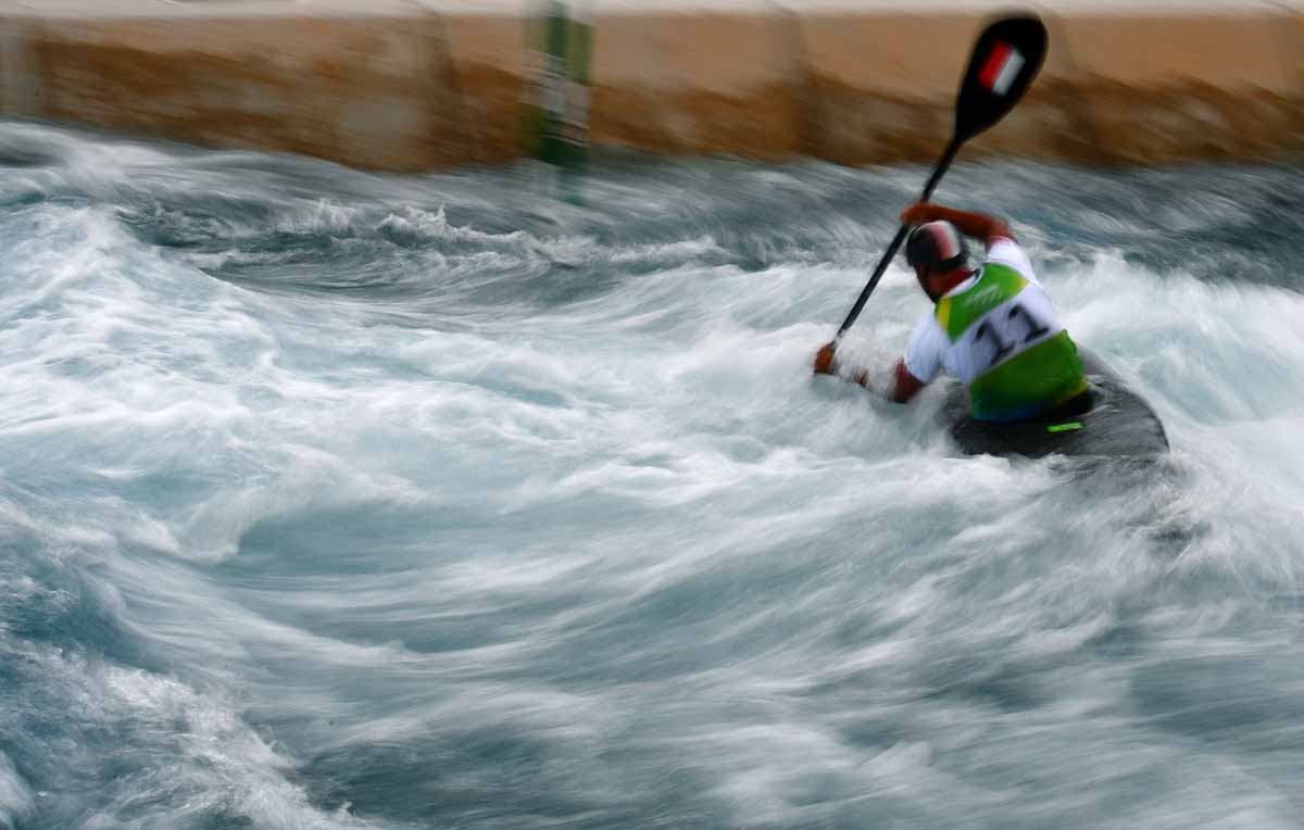 Poland's Maciej Okreglak competes in the Men's K1 kayak slalom competition at the Whitewater stadium during the Rio 2016 Olympic Games in Rio de Janeiro on August 7, 2016