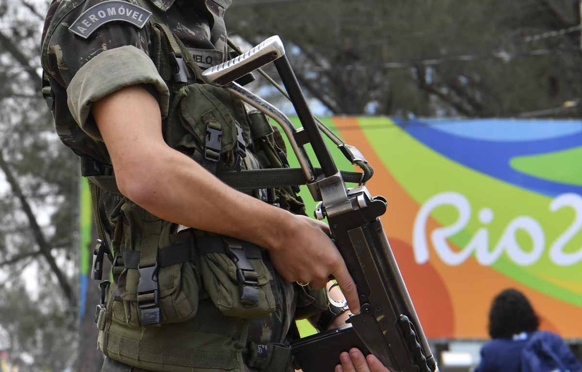A Brasilian soldier stands guard near the Riocentro complex in Rio de Janeiro, on August 3, 2016, ahead of the Rio 2016 Olympic Games.