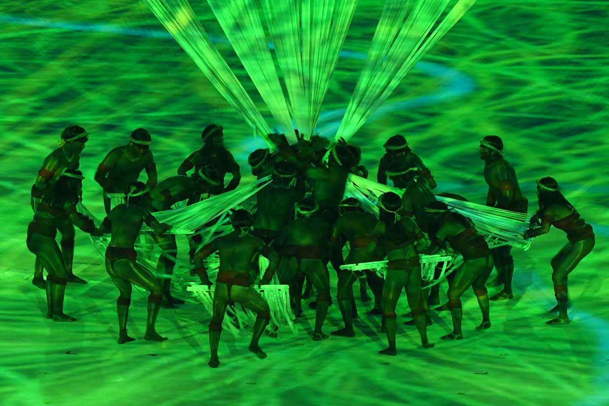 Dancers perform during the opening ceremony of the Rio 2016 Olympic Games at Maracana Stadium in Rio de Janeiro on August 5, 2016.
