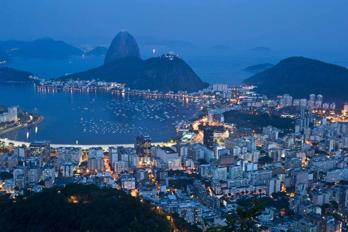 Night view of the Botafogo area with the Sugar Loaf mountain (L) on background, taken during the night in Rio de Janeiro, on October 30, 2012