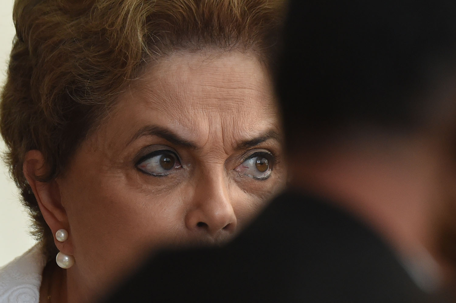 Brazilian suspended President Dilma Rousseff gives a press conference with international media at the presidential residence Alvorada Palace in Brasilia on May 13, 2016