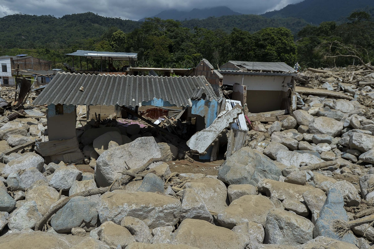 View of one of the houses destroyed by mudslides caused by heavy rains in Mocoa, Putumayo department, southern Colombia on April 4, 2017.