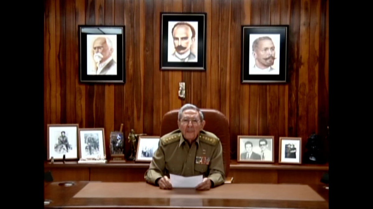 TV grab showing Cuban President Raul Castro announcing the death of his brother Fidel Castro in Havana on November 26, 2016.