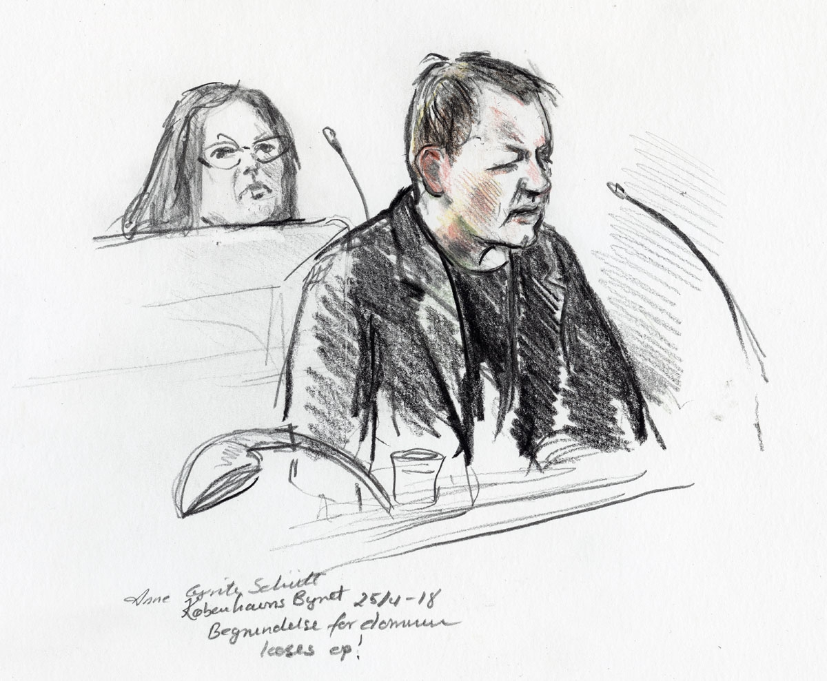 ourt drawing by Anne Gyrite Schütt made available by Danish news agency Ritzau SCANPIX shows accused Peter Madsen (R) during his trial at the courthouse in Copenhagen, where his verdict was spoken in Copenhagen on April 25, 2018.