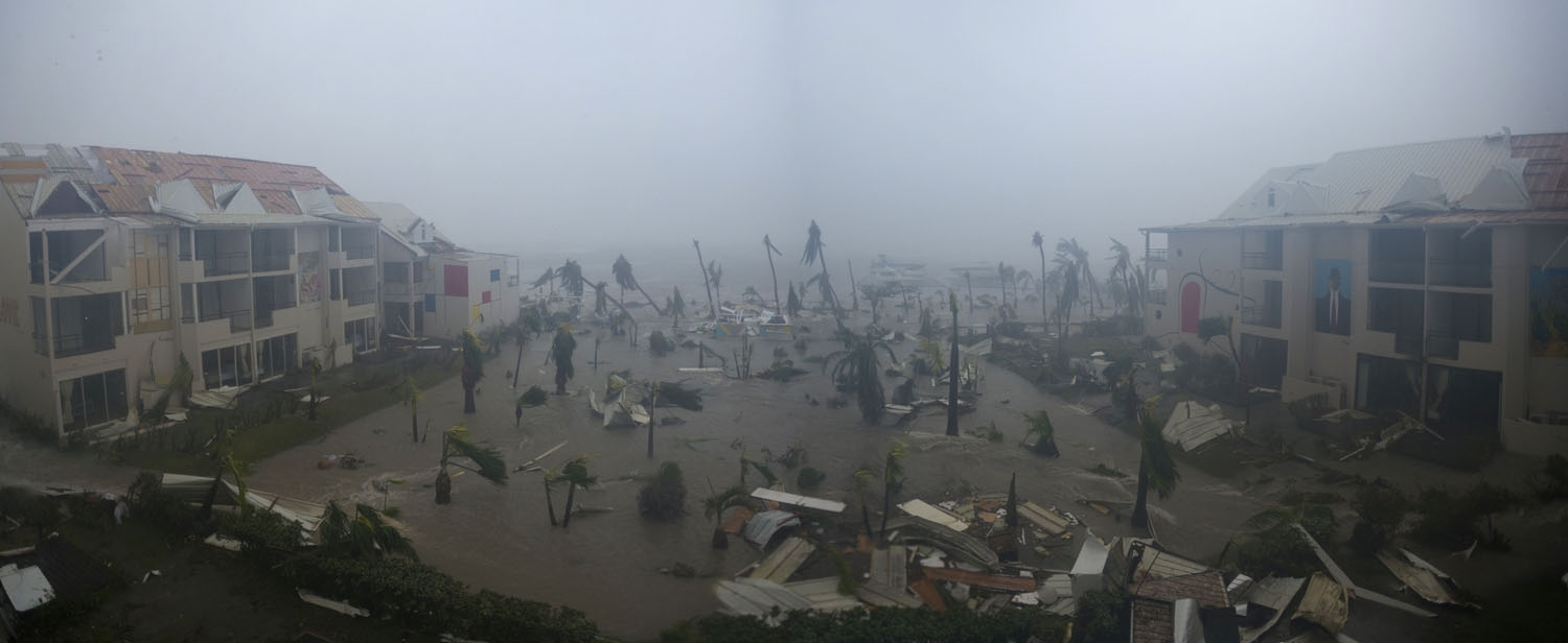 A panoramic photo taken on September 6, 2017 shows the Hotel Mercure in Marigot, near the Bay of Nettle, on the French Collectivity of Saint Martin, during the passage of Hurricane Irma.