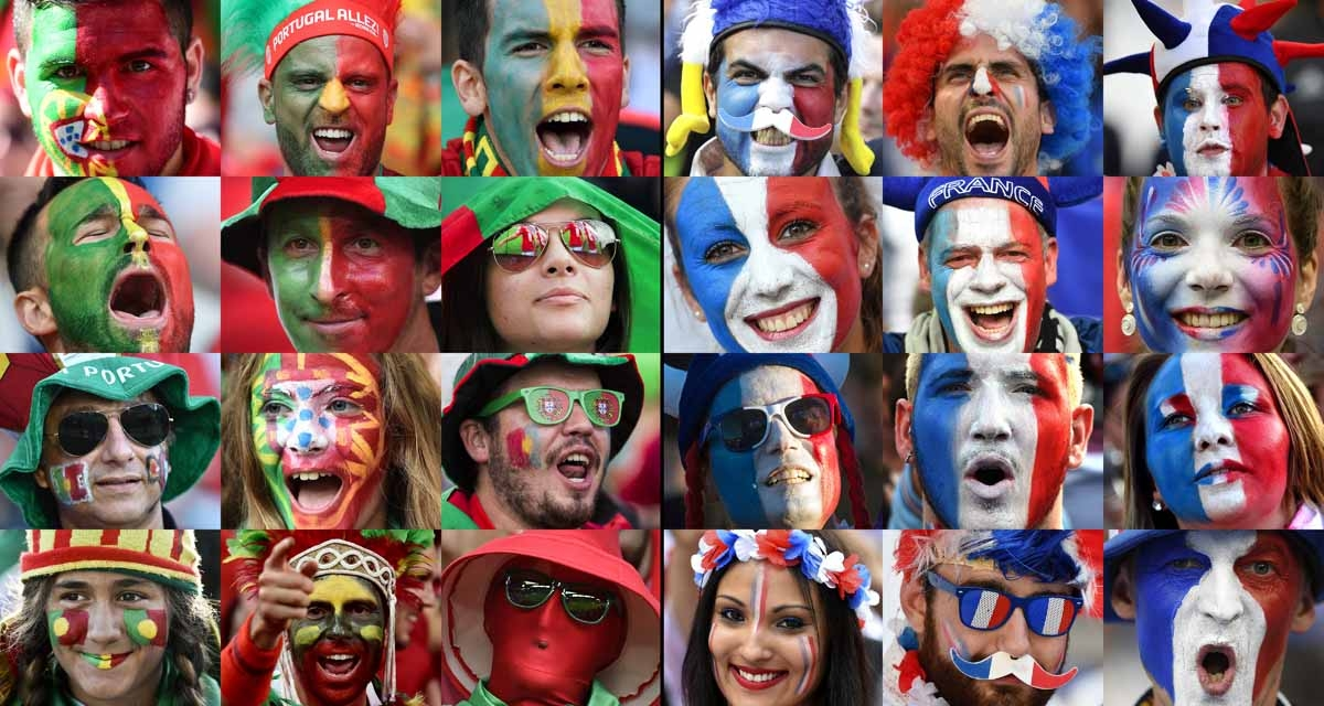 A combination of file pictures made on July 8, 2016 shows Portugal (L) and France (R) supporters during Euro 2016 football tournament. France will face Portugal in the Euro 2016 final football match at the Stade de France in Saint-Denis, north of Paris, o