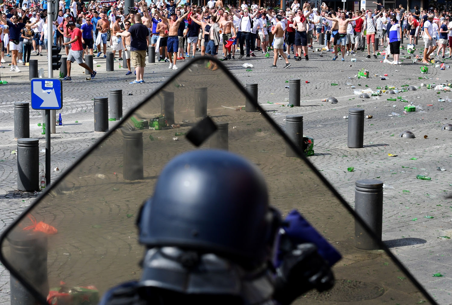 England fans clash with police personnel as England fans gather in the city of Marseille, southern France, on June 11, 2016, ahead of the Euro 2016 football match between England and Russia