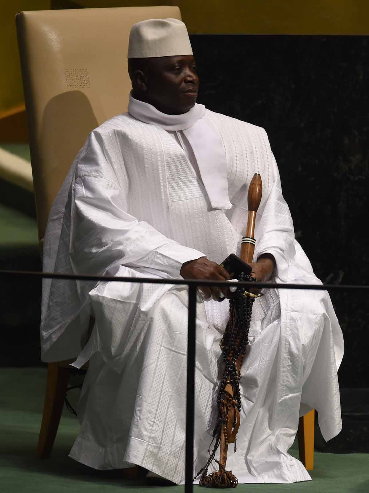 President of Gambia Al Hadji Yahya Jammeh waits to address the 69th session of the United Nations General Assembly September 25, 2014 at the United Nations in New York.