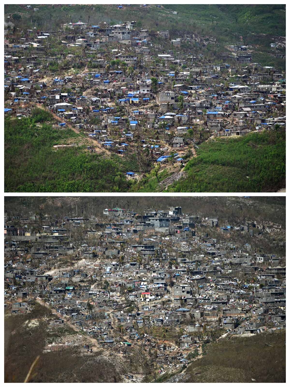 These two pictures show at top damaged houses in Jeremie, southwestern Haiti, on October 22, 2016 two weeks after Hurricane Matthew, and at bottom the same location on October 10, 2016.