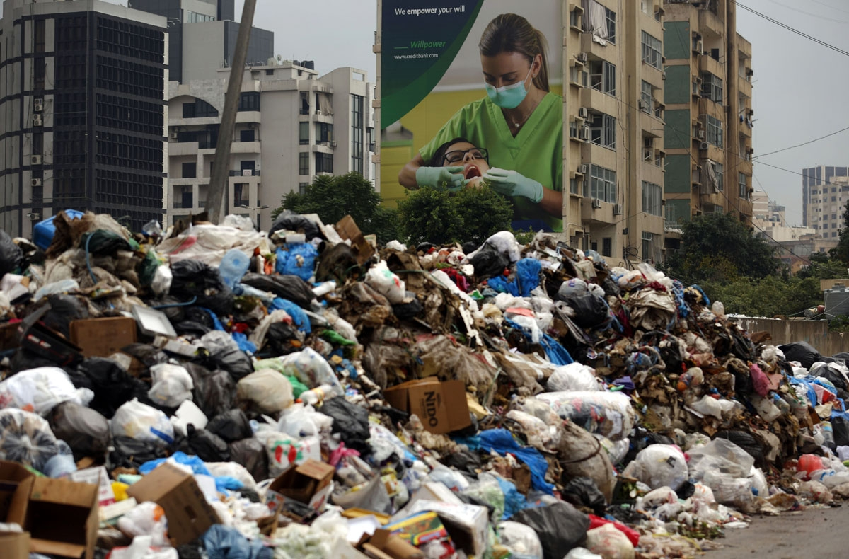 Garbage piles in an eastern suburb of the Lebanese capital Beirut, on January 14, 2016.