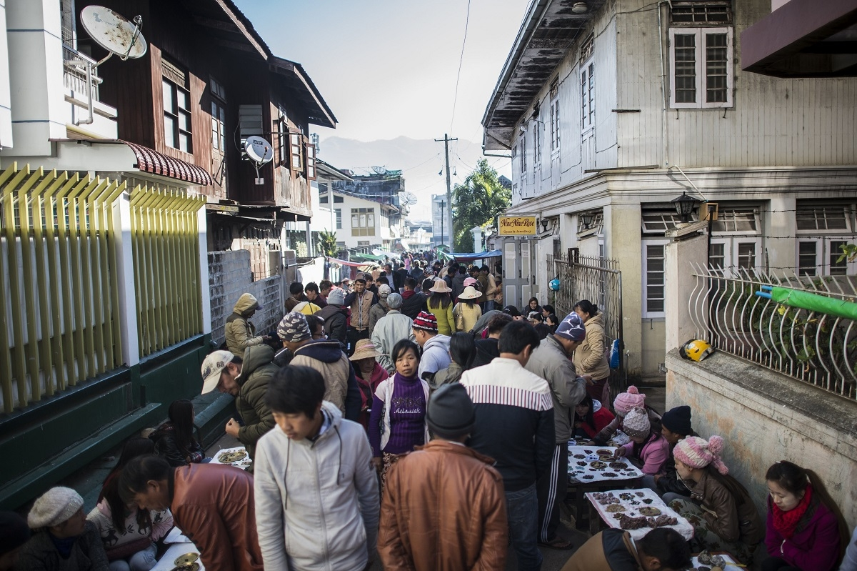 This photo taken on November 25, 2016 shows a general view of the gem market in Mogok, north of Mandalay.