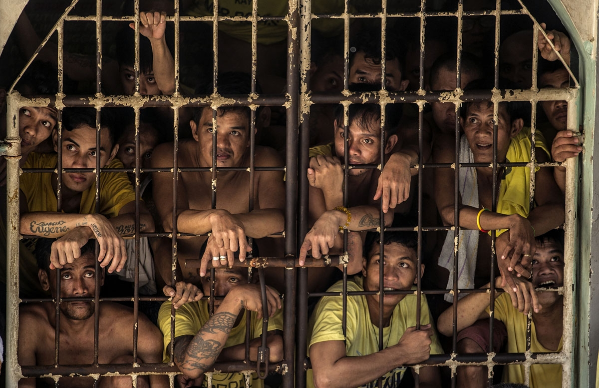 Inmates at the Quezon City Jail in Manila ion July 18, 2016