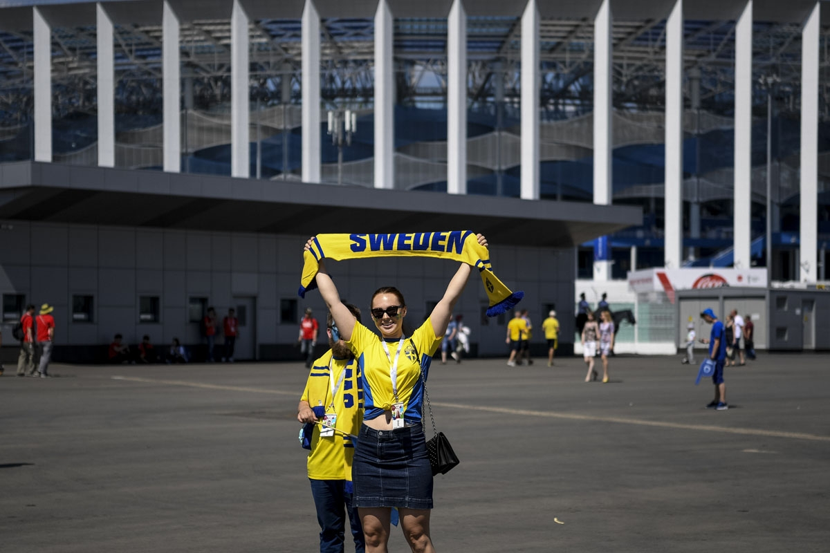Swedish fans stand outside Nizhny Novgorod Stadium while arriving for the Russia 2018 World Cup Group F football match between Sweden and South Korea in Nizhny Novgorod on June 18, 2018.