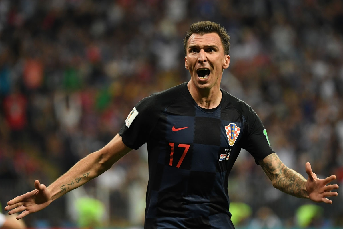 Croatia's forward Mario Mandzukic celebrates after scoring his team's second goal during the Russia 2018 World Cup semi-final football match between Croatia and England at the Luzhniki Stadium in Moscow on July 11, 2018.