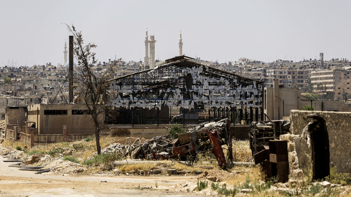 A picture shows a destroyed factory in Aleppo's northwest Layramoun industrial district on July 5, 2017