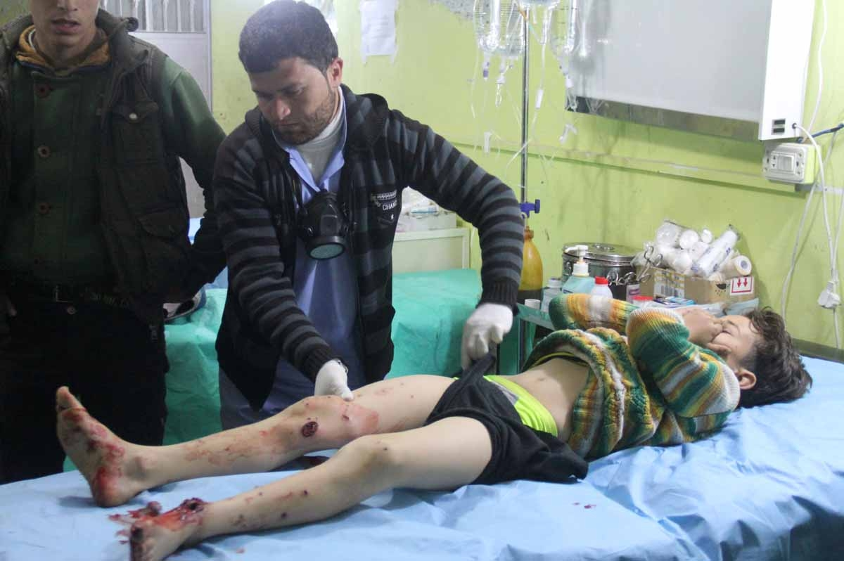 A Syrian child receives treatment at a hospital in Khan Sheikhun, a rebel-held town in the northwestern Syrian Idlib province, following an attack on April 4, 2017.