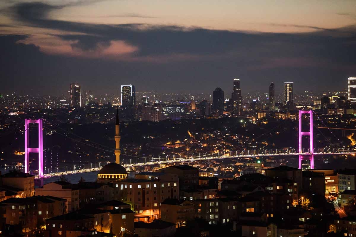 A picture taken on July 1,2016 shows a general view of the Bosphorus Bridge and the European side of Istanbul.