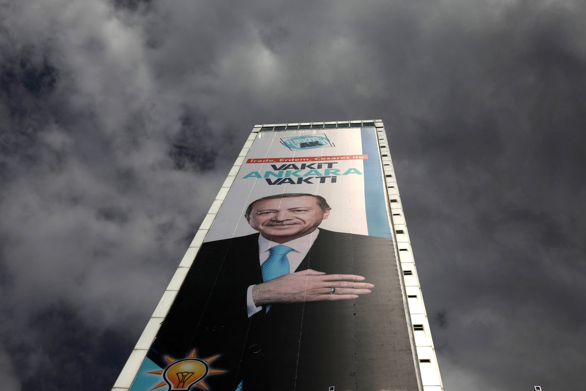 A giant electoral poster displaying Turkish President Recep Tayyip Erdogan is pictured on June 19, 2018 in Ankara, ahead of June 24the Turkish presidential and parliamentary elections.     / AFP PHOTO / ADEM ALTAN
