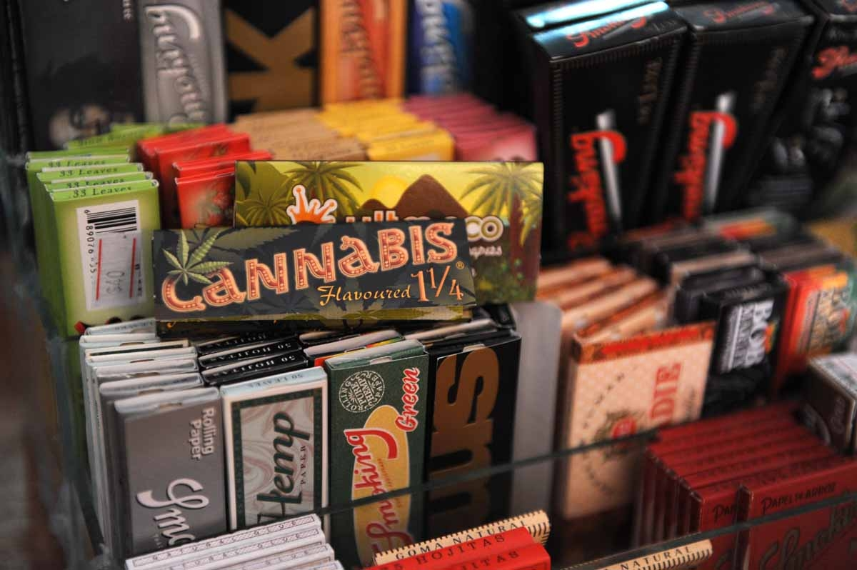 Paper to roll joints for sale at the first shop dedicated to cannabis merchandising in Montevideo, on April 24, 2014. AFP PHOTO/ Miguel ROJO / AFP PHOTO / MIGUEL ROJO