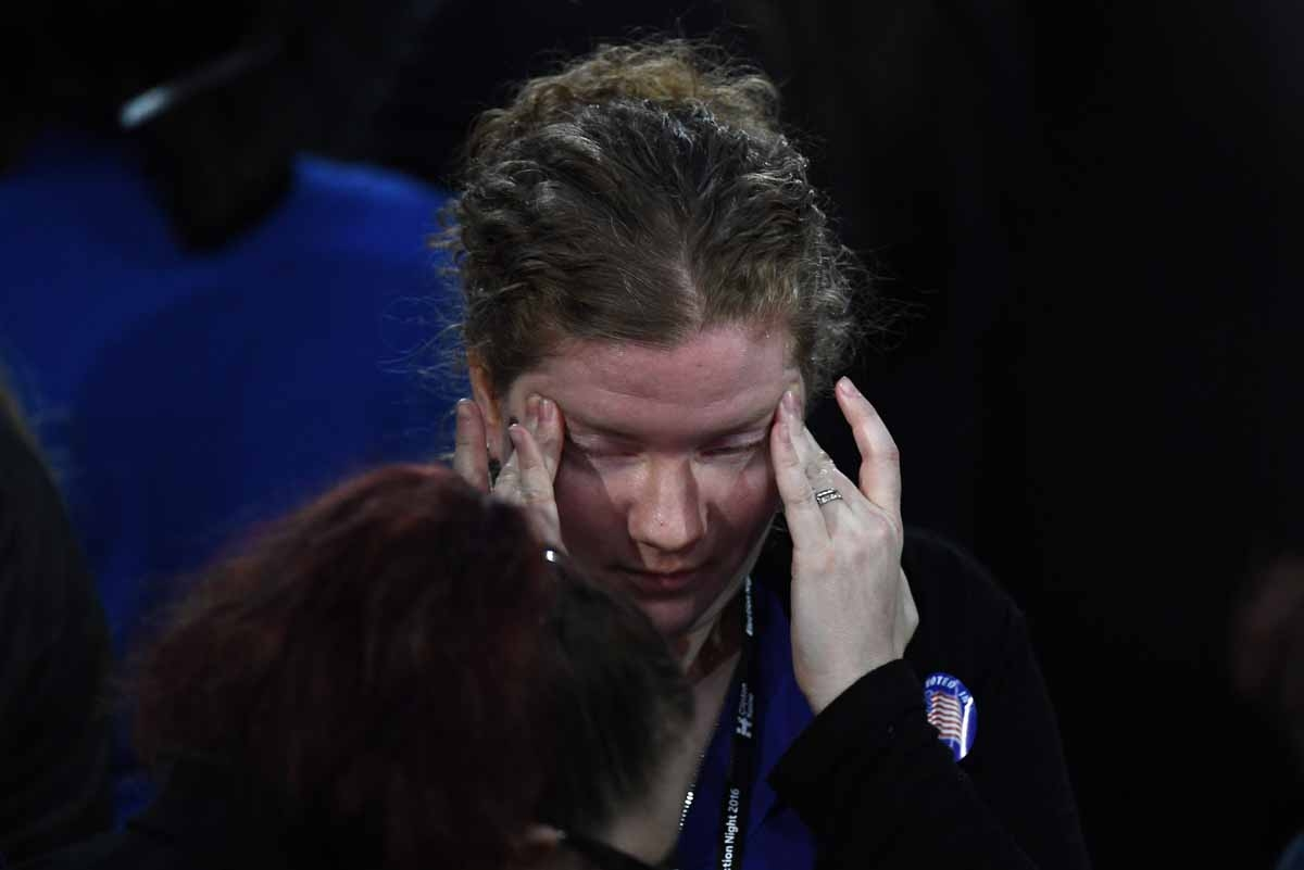 A supporter of Democratic presidential nominee Hillary Clinton reacts during election night at the Jacob K. Javits Convention Center in New York on November 8, 2016.