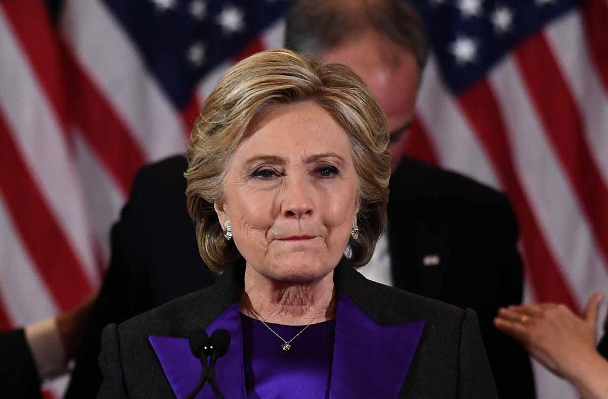 US Democratic presidential candidate Hillary Clinton makes a concession speech after being  defeated by Republican president-elect Donald Trump in New York on November 9, 2016. /
