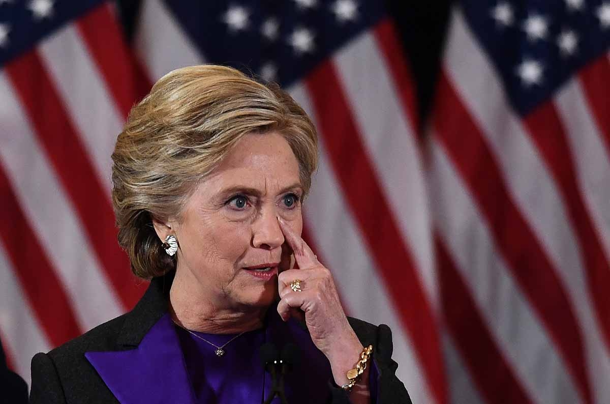 US Democratic presidential candidate Hillary Clinton pauses as she makes a concession speech after being defeated by Republican President-elect Donald Trump, in New York on November 9, 2016.