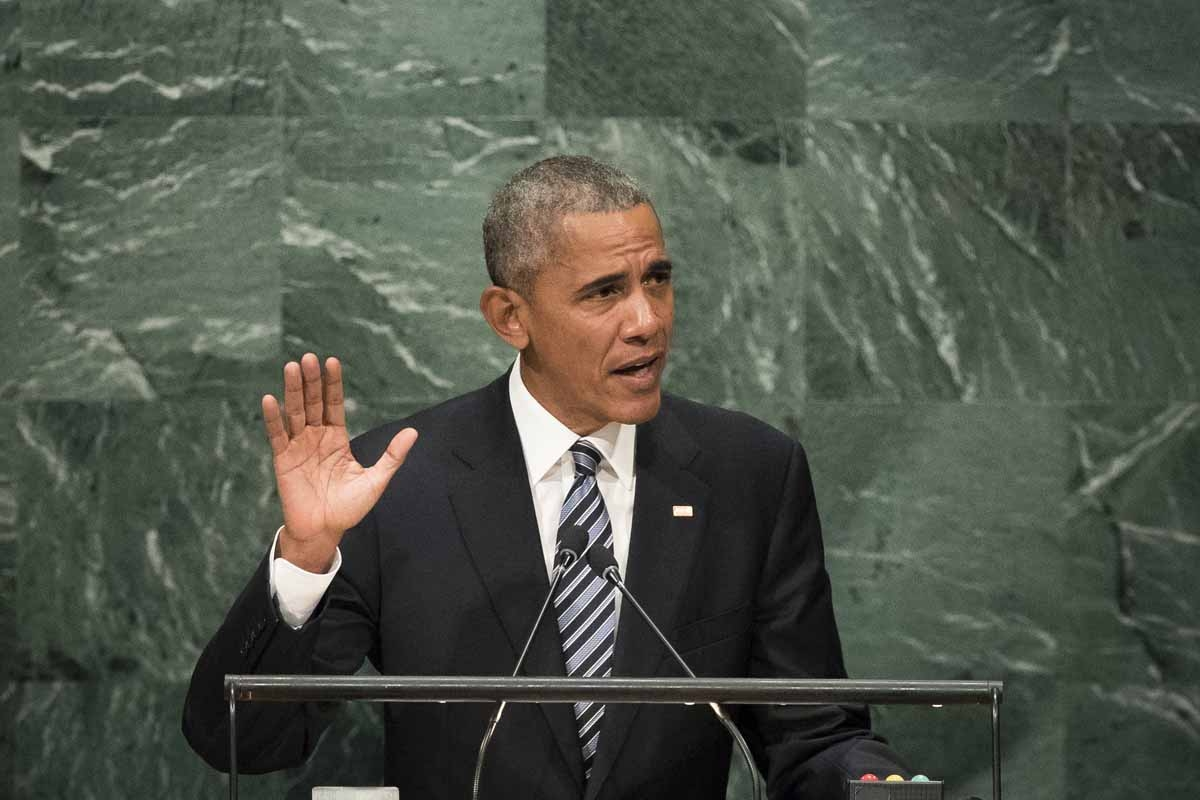 U.S. President Barack Obama addresses the United Nations General Assembly at UN headquarters, September 20, 2016 in New York City.