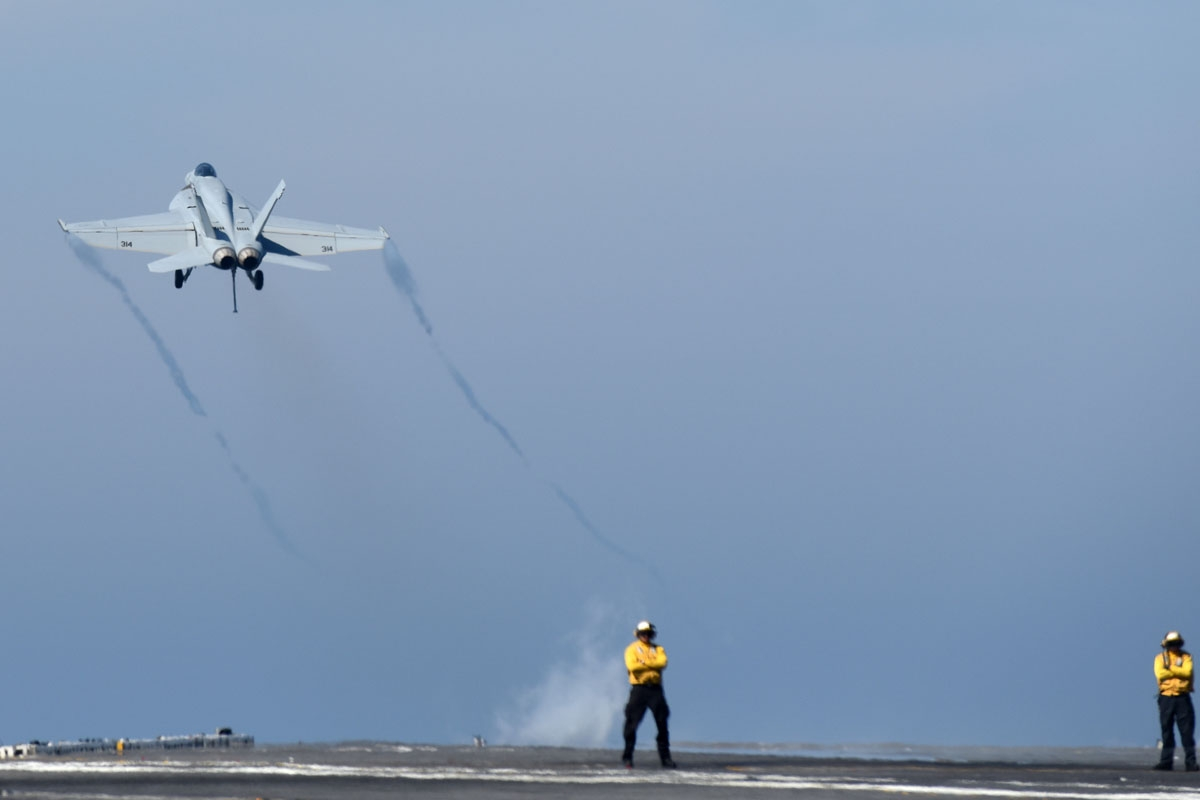 A F/18 Hornet is catapulted from the deck of the USS George H.W. Bush aircraft carrier on May 11, 2018 in the Atlantic Ocean.