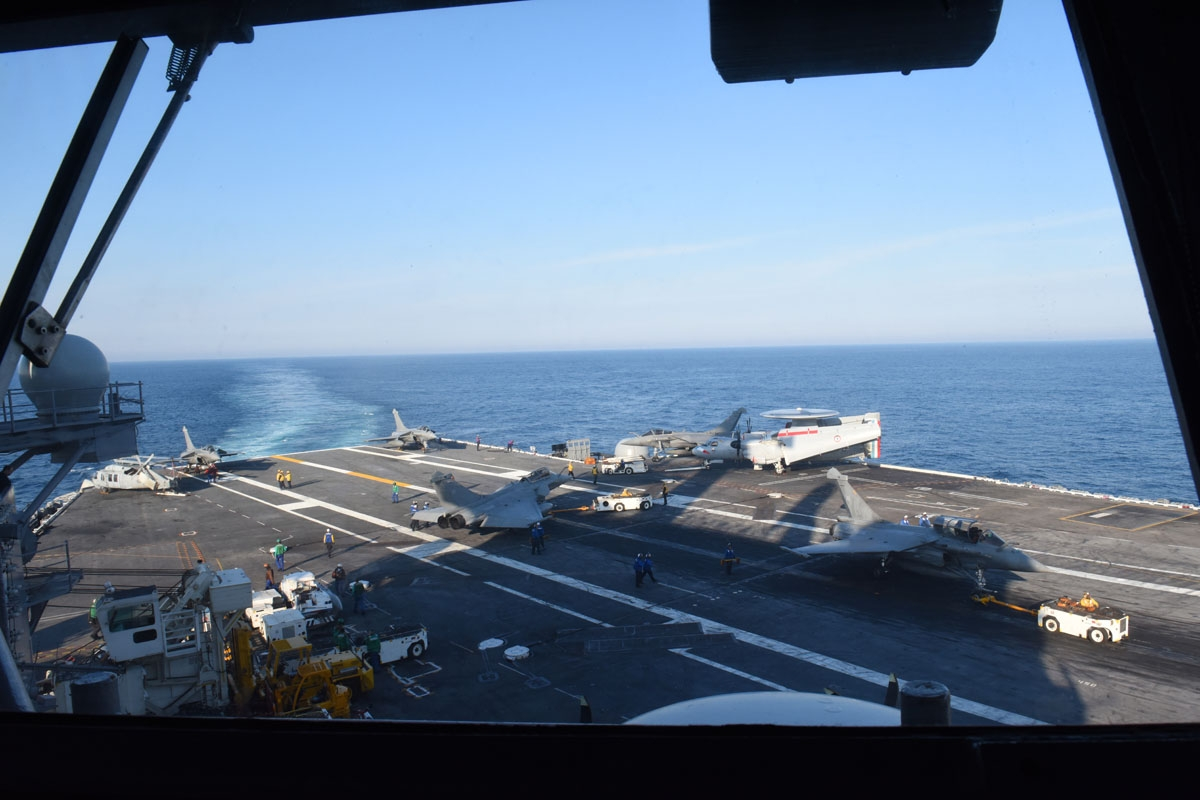 .u A view of the flight desk from the Island (control tower) window of the commander of  the USS George H.W. Bush aircraft carrier on May 11, 2018 in the Atlantic Ocean.