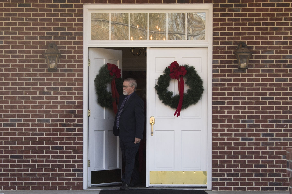 First Baptist Church of Gallant Pastor Tom Brown, a supporter of Republican Senatorial candidate Roy Moore, edits his church to speak to the press after Sunday Service  in Gallant, AL, on December 10, 2017.