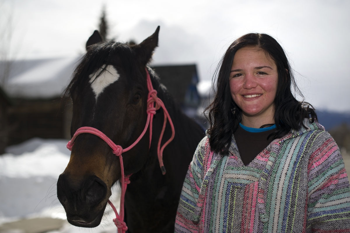Rider Savanah McCarthy of Aztec, New Mexico, poses for a portrait with her horse Tank after finishing in 1st place during the 68th annual Leadville Ski Joring weekend competition on Saturday, March 5, 2017 in Leadville, Colorado. McCarthy, 17, races in th