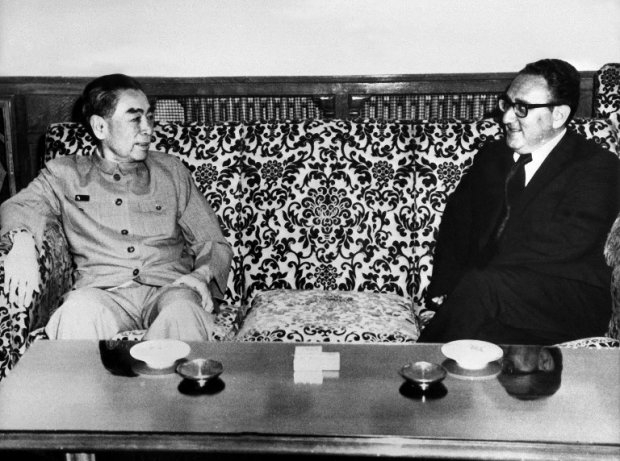 US Special envoy Henry Kissinger meets with China's Prime Minister Zhou Enlai, July 1971 in Beijing.