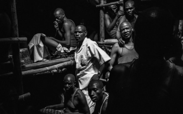 Inmates in a crowded cell in the Kibuye prison.