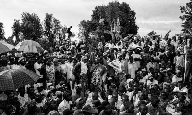 This photo, taken October 16, 2001, in Runda shows residents gathering on a hillside for a gacaca session, where detainees accused of crimes committed during the genocide are confronted by members of the local community.