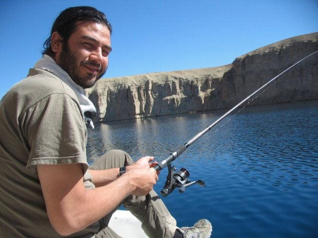 AFP reporter Sardar Ahmad fishes in a lake near Bamiyan on October 17, 2008