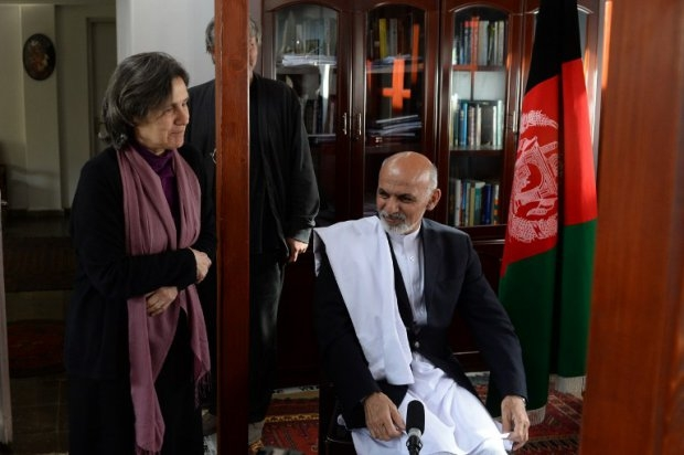 Afghan then president-elect Ashraf Ghani and his wife at their residence in Kabul on April 14, 2014