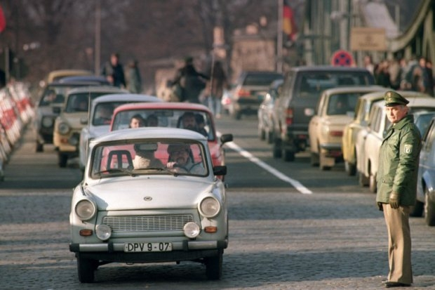 East German Trabants flow towards West Berlin on November 21, 1989