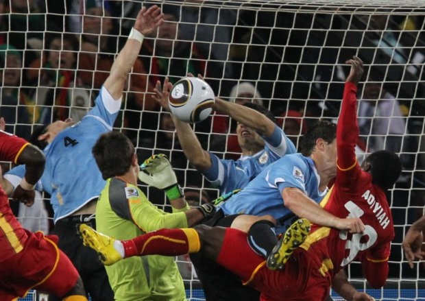 The infamous handball from Suarez that deprived Ghana of a quarter-final win at the 2010 World Cup in South Africa in 2010.