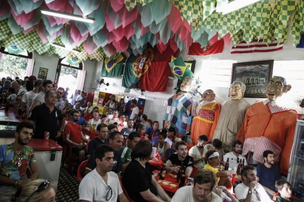 British tourists watch the Spain-Holland game in a bar in Manaus.