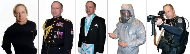 A combination of images grabbed on Facebook (at R) and on YouTube (the four others) shows Anders Behring Breivik (AFP Photo / Facebook / Youtube)