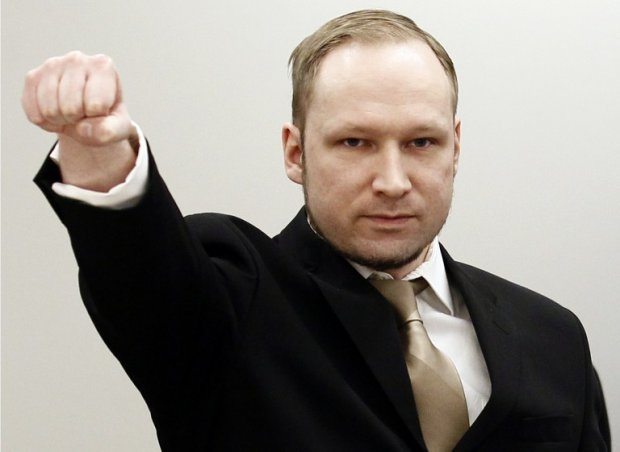 Breivik at the opening of his trial, April 16, 2012