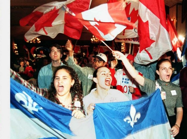 Youths cheer for the anti-secessionist leader Daniel Johnson at a campaign rally in Montreal in October 1995, before the independence referendum in Quebec
