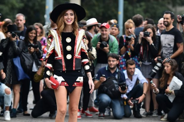 Fashion blogger Chiara Ferragni poses for the second time on the same day, with a new dress