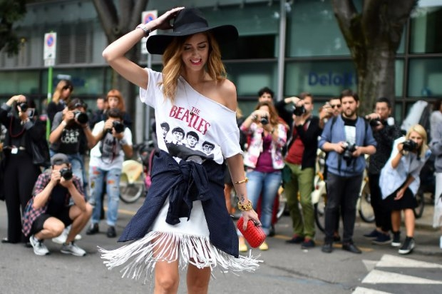 Fashion blogger Chiara Ferragni poses in the street prior a show on September 20