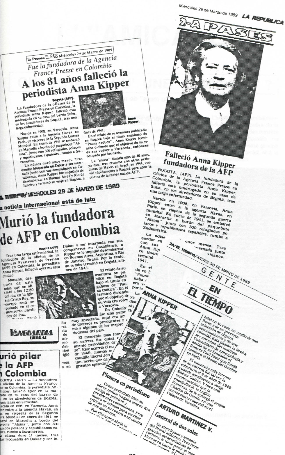 Colombian newspapers report Anna Kipper's death in March 1989