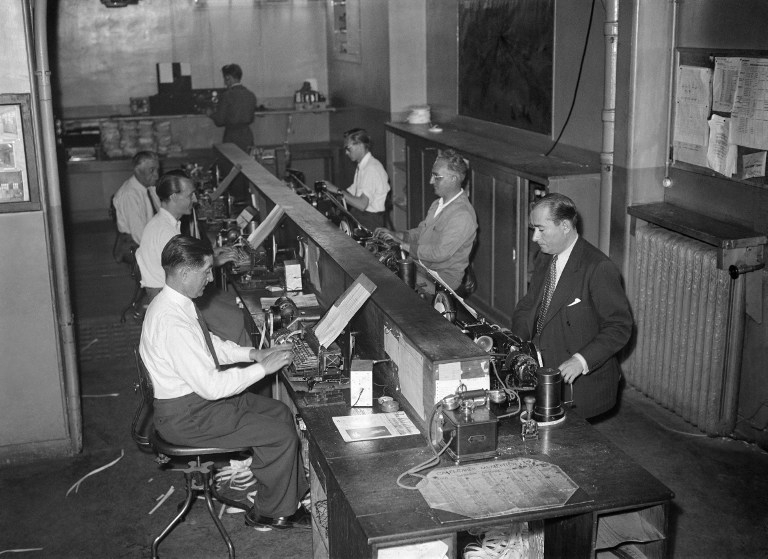 A newsroom at AFP headquarters in Paris 1946