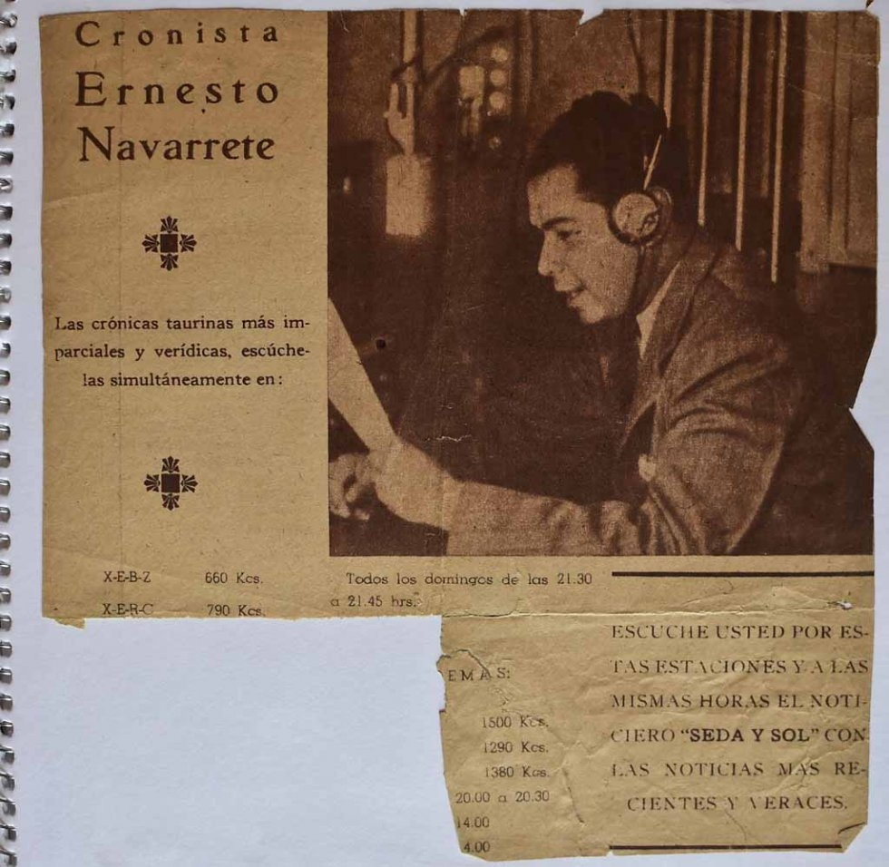 A clipping shows a younger Don Neto during radio commentary of a bullfight.