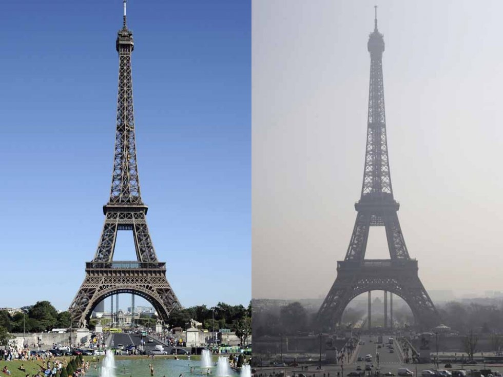 Eiffel tower through a haze of pollution (r) in March, 2014 and on a clear day (l) in August, 2012. (AFP/Bertrand Guay, Kenzo Tribouillard)